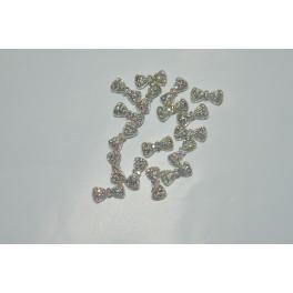 Mašlička stříbrné 1 ks s duhovými kamínky